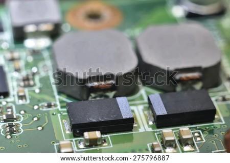 circuit board (integrated circuits, diodes, transistors, vacuum tubes) - stock photo
