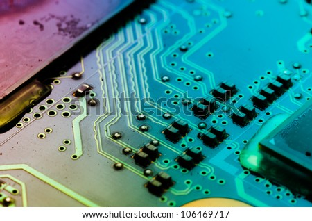 circuit board of laptop - stock photo