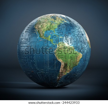 Circuit board textured earth on dark surface. Elements of this image furnished by NASA. - stock photo