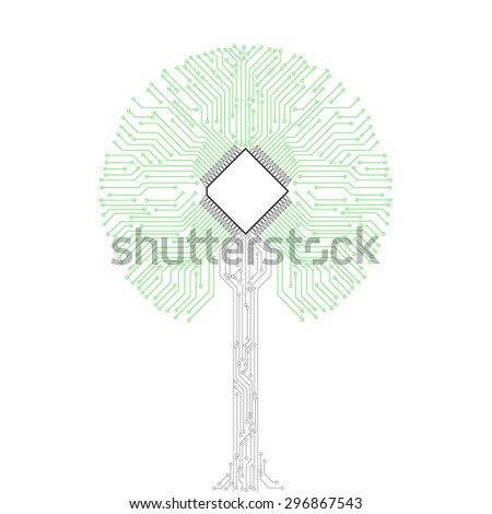 circuit board tree background - stock photo