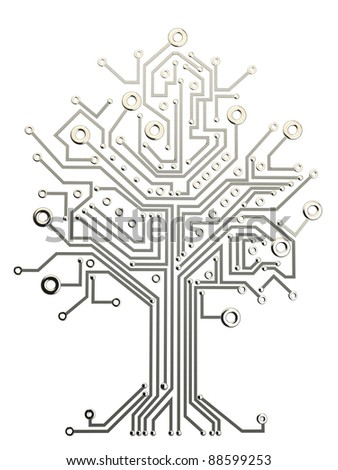 circuit board tree background 3d illustration. high resolution - stock photo