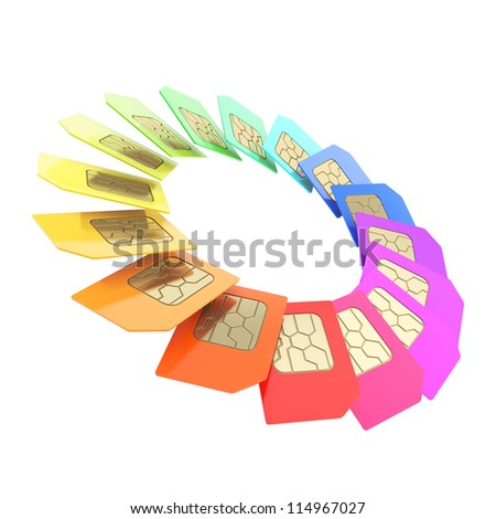 Circuit microchip SIM card round circle empty copyspace emblem frame isolated on white background - stock photo