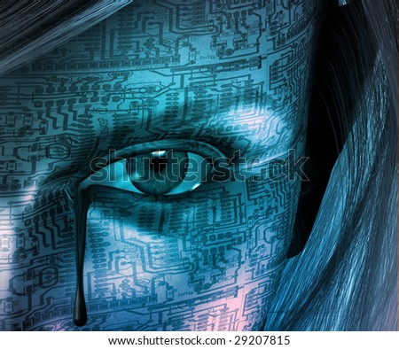Circuit skinned woman with tear - stock photo