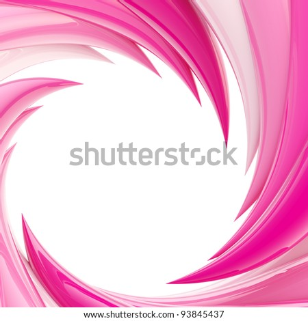 Circular abstract frame background made of pink glossy wavy elements - stock photo