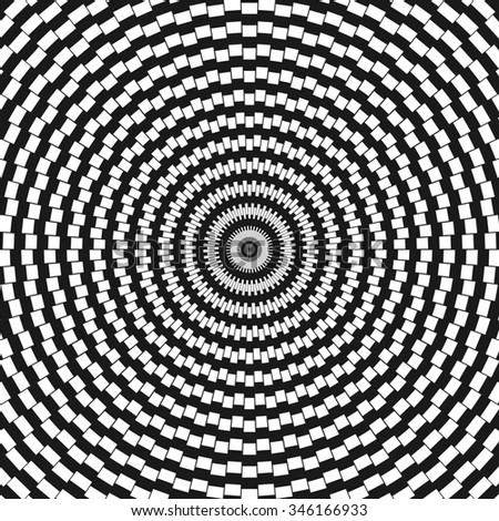 Circular black and white optical illusion. Abstract background.  - stock photo