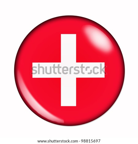 Circular,  buttonised flag of Switzerland - stock photo