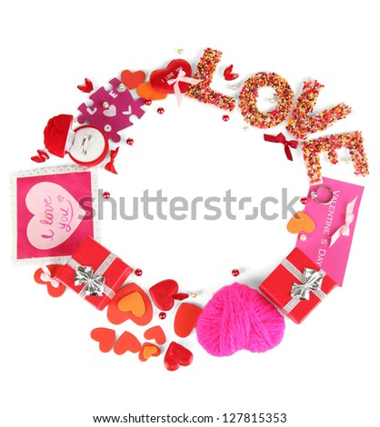 Circular composition Valentine's Day isolated on white - stock photo