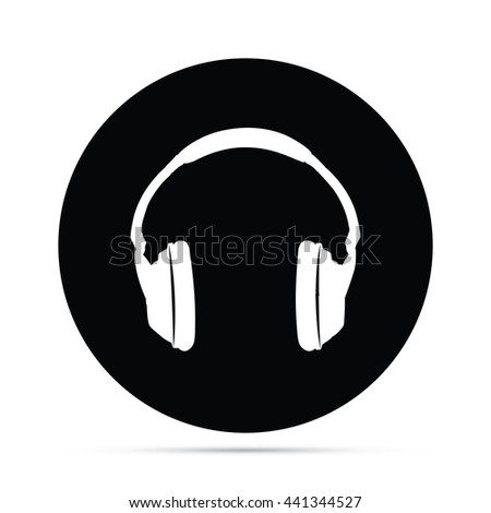 Circular Headphones Icon.  Raster Version - stock photo