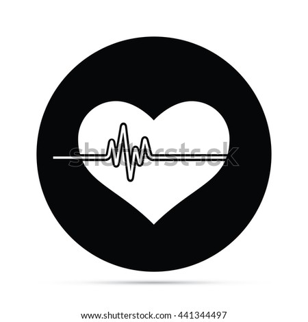 Circular Heart Monitor Icon.  Raster Version  - stock photo