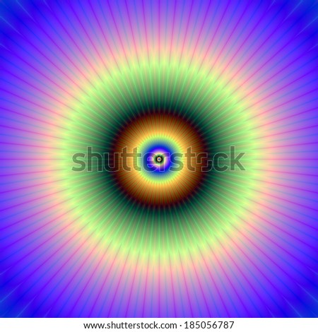 Circular in Blue Violet Green and Bronze / Digital abstract fractal image with a circular design in blue, violet, green and bronze. - stock photo