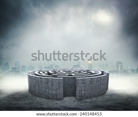 Circular labyrinth - stock photo