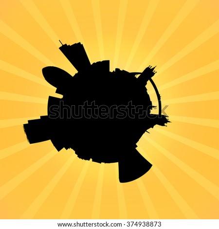 Circular London skyline on sunburst illustration - stock photo