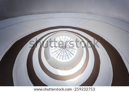 Circular Modern Skylight inside a Modern Architecture Building - stock photo