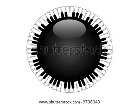 circular piano keys - stock photo