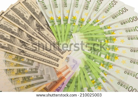Circular Placement of American and  European Currencies. Horizontal Image - stock photo