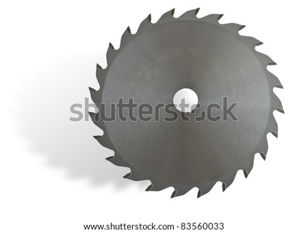 Circular saw on white background with drop shadow. - stock photo