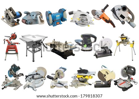 circular saws and other woodworking equipment under the white background - stock photo