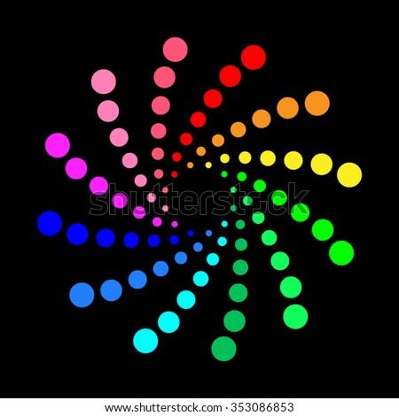 Circular spectrum pattern on black background. - stock photo