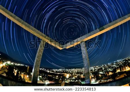 Circular star trail - stock photo