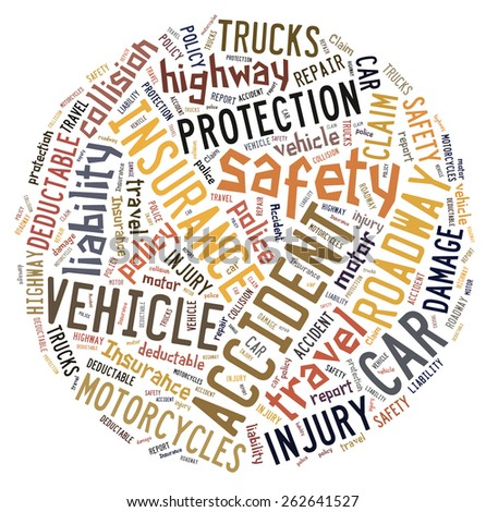 Circular word cloud showing words that deal with vehicle insurance - stock photo