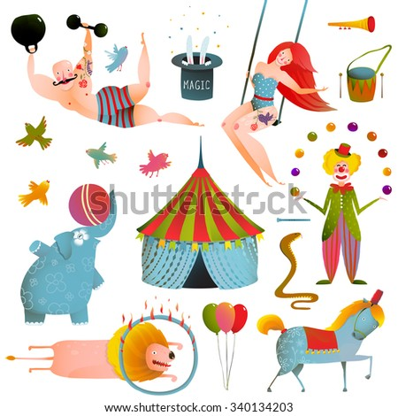 Circus Carnival Show Clip Art Vintage Collection. Fun and cute performance with animals, clown, strong man and horse set. Raster variant. - stock photo