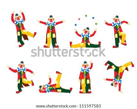 Circus clowns set - stock photo