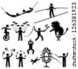 Circus Performers Acrobat Stunt Animal People Man Stick Figure Pictogram Icon - stock photo