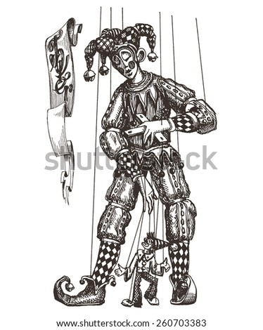 circus, puppet theatre, clown, Joker on a white background. sketch - stock photo