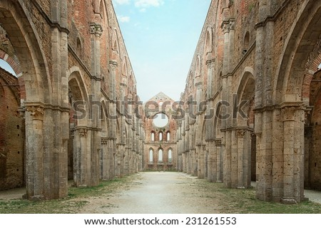 Cistercian convent built in the 12th-century, 30 km southwest of the city of Siena, Tuscany, Italy  - stock photo