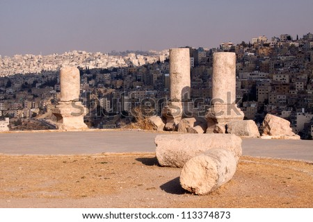 Citadel in Amman, Jordan - stock photo