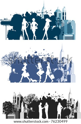Citizens.  Raster version of vector illustration. - stock photo