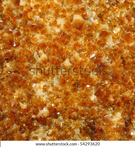 Citrine carpet inside a druse - stock photo