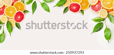 Citrus fruits slice with green leaves on white wooden background, banner for website - stock photo