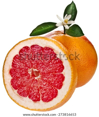 citrus grapefruit slice detail close up texture isolated on white background - stock photo