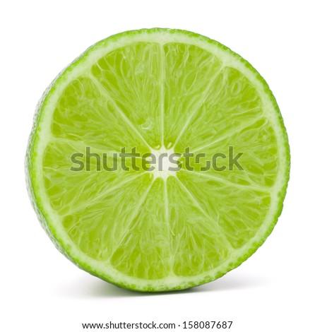 Citrus lime fruit half isolated on white background cutout - stock photo