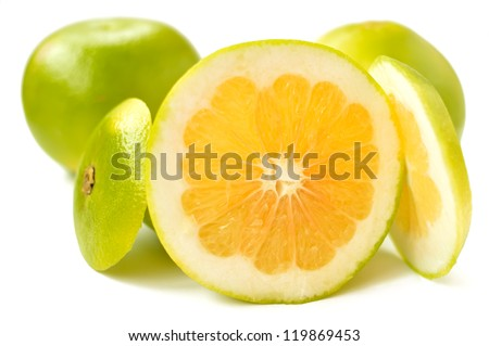 Citrus sveetie slices on a white background close-up - stock photo