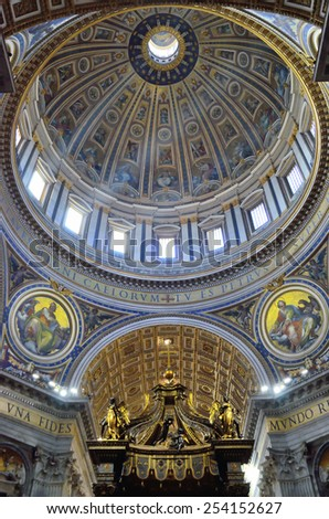 CITTA' DEL VATICANO - JANUARY 4 -  Interior of St. Peter's Basilica in Vatican on Jan 4, 2015. St. Peter's Basilica is one of the main tourist attractions of Rome. - stock photo