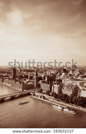 City aerial view from London Eye over Thames River. - stock photo
