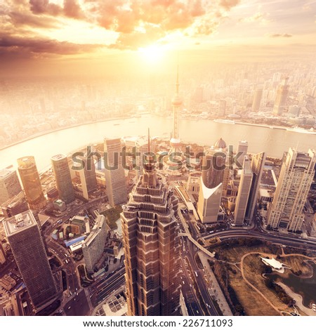 city aerial view of Shanghai,china - stock photo