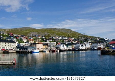 City and harbor, Honningsvag, Nordkapp municipality, Norway - stock photo