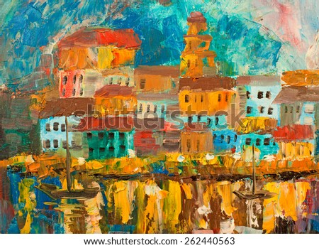 City art,oil paint,wallpapers,background - stock photo
