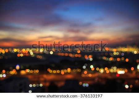 City at night pattaya chonburi,Thailand. Blurred photo bokeh. - stock photo
