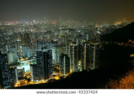 city at night, view from mountain - stock photo