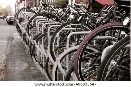 City bicycle parking. Theme of rest, activity, ecology, transport. - stock photo