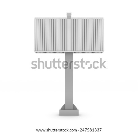 City billboard isolate on white background. 3d render image. - stock photo