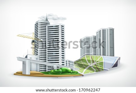 City, bitmap copy - stock photo