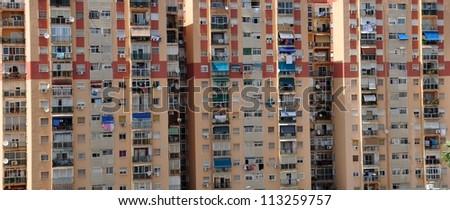 city block in malaga, spain - stock photo