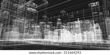 City buildings project, 3d wireframe print, design. Architecture, urban plan, real estate industry - stock photo
