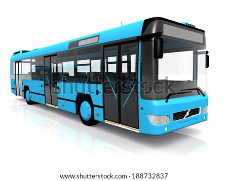 city bus on a white background - stock photo