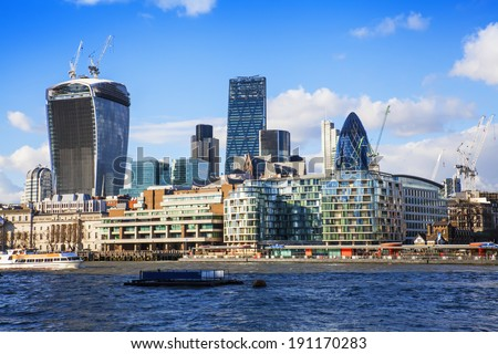 City business center skyscrapers London - stock photo